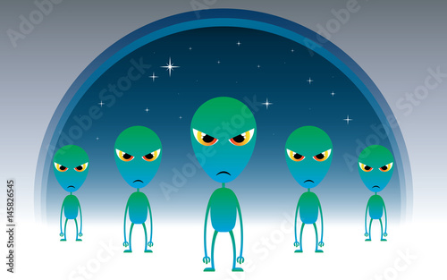 Valokuva alien invasion vector illustration design
