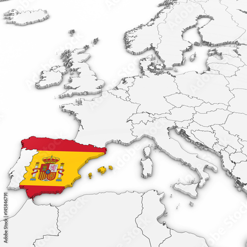 3d Map Of Spain.3d Map Of Spain With Spanish Flag On White Background 3d