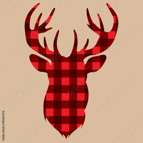 Silhouette of deer on vintage colored lambrajack background