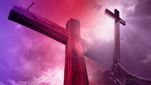 3d Rendering - Wooden Cross Against The Sky With Shining Rays