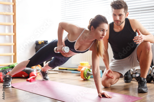 Woman during workout with trainer