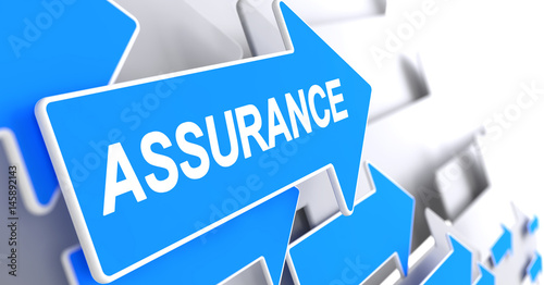 Assurance, Label on Blue Pointer. Assurance - Blue Cursor with a Text Indicates the Direction of Movement. 3D Render. #145892143