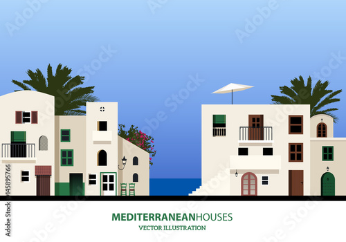 Fotografía  Mediterranean houses, palms and blue sky bakground