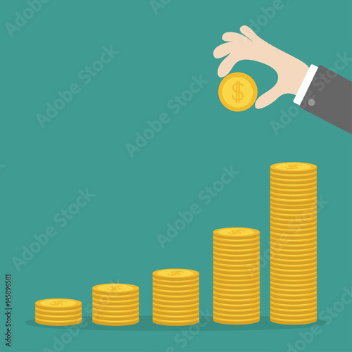 Fototapeta Hand holding gold coin icon. Diagram shape stacks. Dollar sign symbol. Cash money. Going up graph. Income and profits. Growing business concept. Green background. Isolated. Flat design. obraz