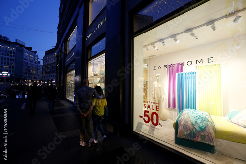 9f9a70b2f People walk in front of an Inditex owned Zara Home store in Milan ...