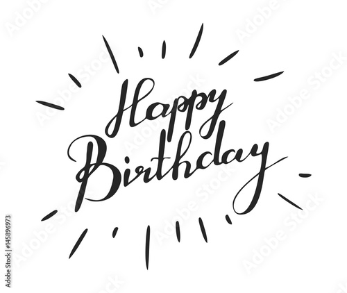 handwriting words happy birthday on white background calligraphy