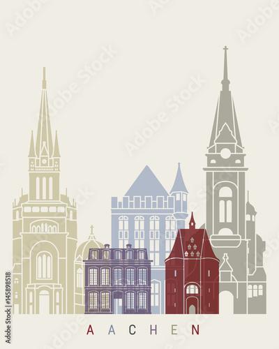 Aachen skyline poster Wallpaper Mural