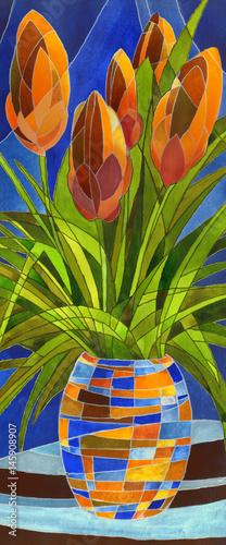 Zdjęcie XXL Streszczenie kwiaty w wazonie