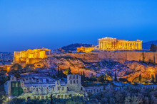 The Acropolis, UNESCO World Heritage Site, Athens, Greece, Europe. Acropolis Is Famous Travel Destination, After Sunset Scenery.
