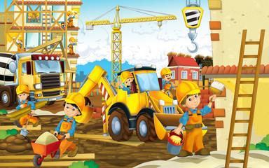 fototapeta kreskówki sceny z placu budowy