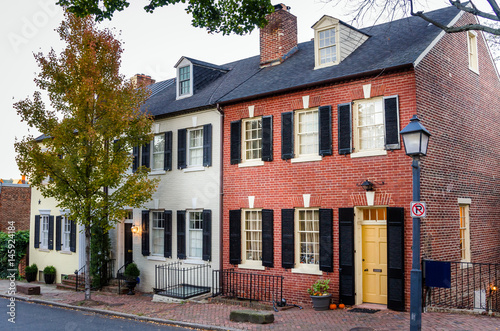 Traditional Brick Houses in Alexandria Old Town, Virginia, at Sunset Wallpaper Mural