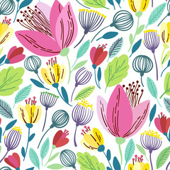 FototapetaVector floral pattern in doodle style with pink flowers and leaves.