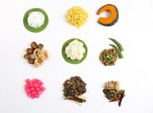 Set Of Nine Northern Thai Food On Green Banana Leaf Basket