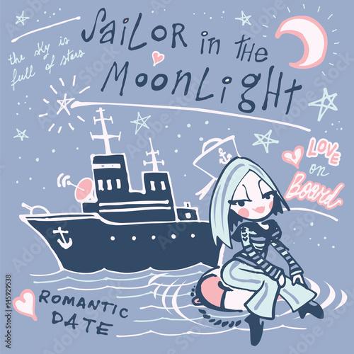 Fotografie, Obraz  Sailor girl floating on a life ring
