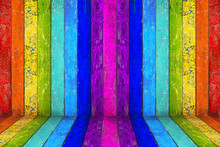Empty Colorful Rainbow Wooden ...