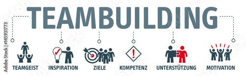 Banner Teambuilding mit Symbolen Wallpaper Mural
