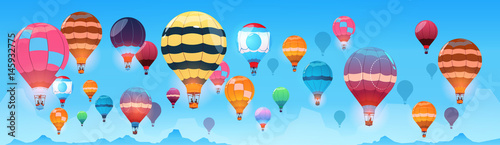 Fényképezés  Colorful Air Balloons Flying In Day Sky Banner Flat Vector Illustration