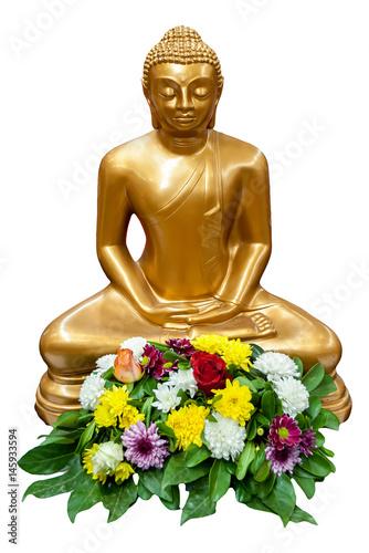 Fotografia  Gautama Buddha front on white background