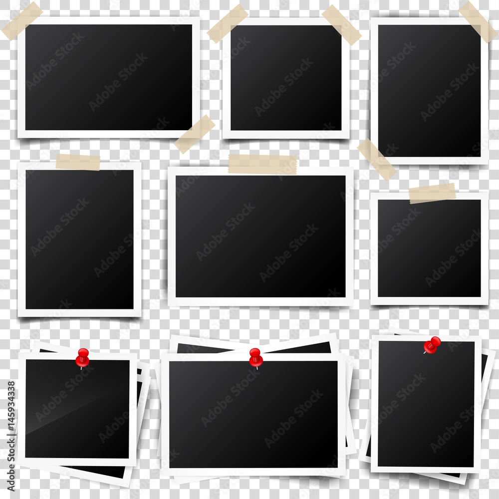 Fototapety, obrazy: Photo card,frame,film set. Retro,vintage photograph with shadow and tape.Digital snapshot,image.Photography art. Template or mockup for design.Vector illustration on a transparent background.