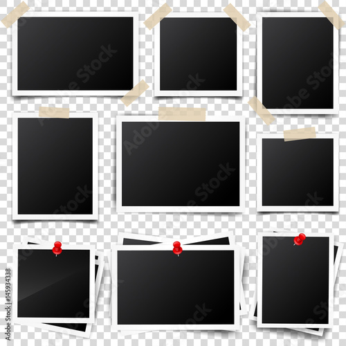 Photo card,frame,film set. Retro,vintage photograph with shadow and tape.Digital snapshot,image.Photography art. Template or mockup for design.Vector illustration on a transparent background. Wall mural