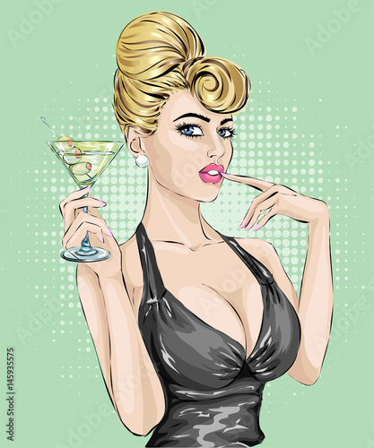 Sexy pin up woman drinking martini. Pop art hand drawn vector illustration