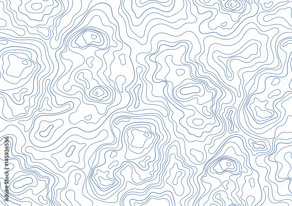Fototapety, obrazy: topographic map seamless pattern. Monochrome background with abstract shapes.