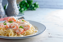Pasta With Shrimps In A Creamy Sauce, Space For Text, Horizontal