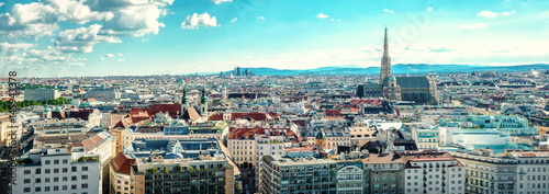 Poster Bleu clair Panoramic view of Vienna city. Austria