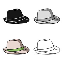 Panama Hat Icon In Cartoon Sty...