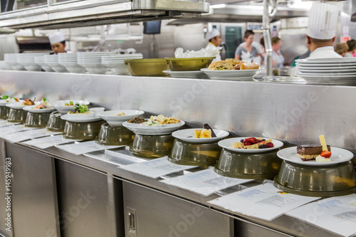 Aluminium Prints Buffet, Bar Dishes in Kitchen with Description Cards