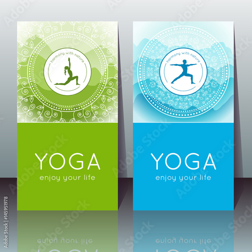 Vector Yoga Cards With Yogi Silhouette Mountain Landscape Ethnic