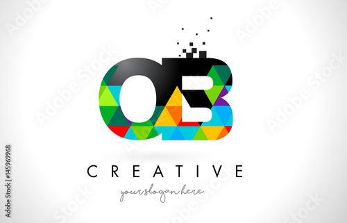 Cuadros en Lienzo  OB O B Letter Logo with Colorful Triangles Texture Design Vector.