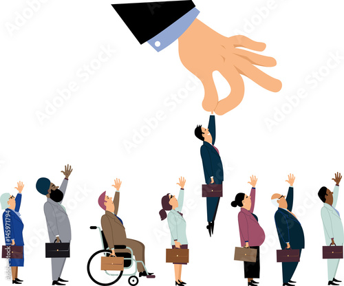 Giant managerial hand picking up a white male from a line of a diverse job candi Wallpaper Mural