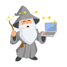 Friendly Wizard, He Has A Laptop, Vector Illustration