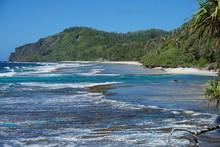 Coastline Of The Island Of Rurutu, Austal Archipelago, South Pacific Ocean, French Polynesia