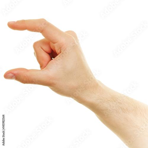 Valokuva  Hand zeigt Größe zwischen Daumen und Zeigefinger