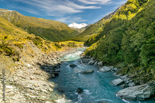 Wild New Zealand river in Mount Aspiring National Park, New Zealand Wallpaper Mural