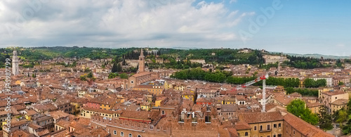 Garden Poster Paris beautifull aerial view of city Verona with red roofs, Italy