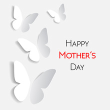 Happy Mother's Day Greeting Card, White With White Paper Origami Butterflies