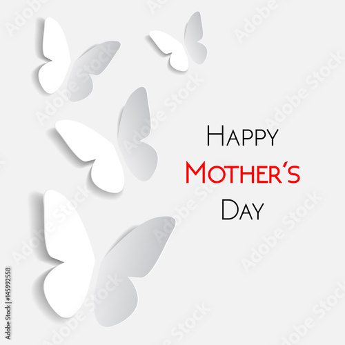 Fototapeta  Happy Mother's Day greeting card, white with white paper origami butterflies
