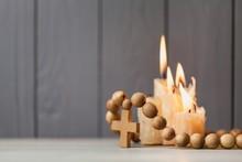 Christian Cross On Bible And C...