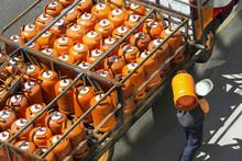 Gas Bottles With Butane In Tru...