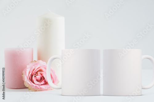 2 Mug Mockup Floral styled stock photograph