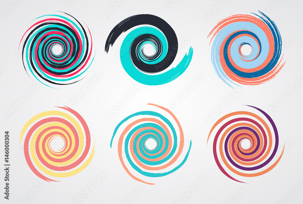 color spiral swirl set circle with brush in flat style vector illustration