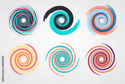 Fotografía color spiral swirl set circle with brush in flat style vector illustration