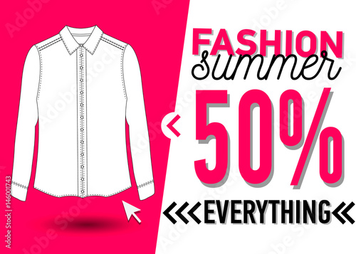 601730373 Fashion summer web banner. Sale banner design template with a white blouse  vector illustration.