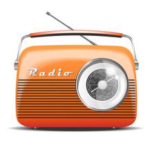Orange Retro Radio. Vintage. Vector Illustration