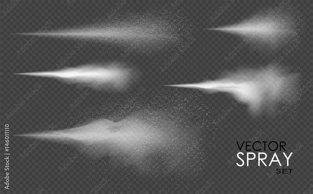 Fototapeta Water spray, white smoke, dust and dots, mist of atomizer. Vector effect, 3d illustration, cosmetic design.
