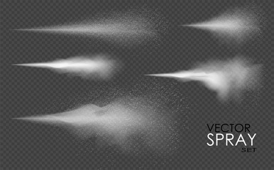 Water spray, white smoke, dust and dots, mist of atomizer. Vector effect, 3d illustration, cosmetic design.