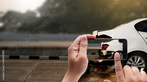 Fotografie, Obraz  accident on street, damaged automobiles  take photo car crash accident for insur